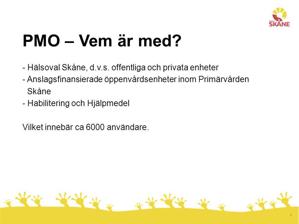 PMO – Vem är med - Hälsoval Skåne, d.v.s. offentliga och privata enheter. Anslagsfinansierade öppenvårdsenheter inom Primärvården.