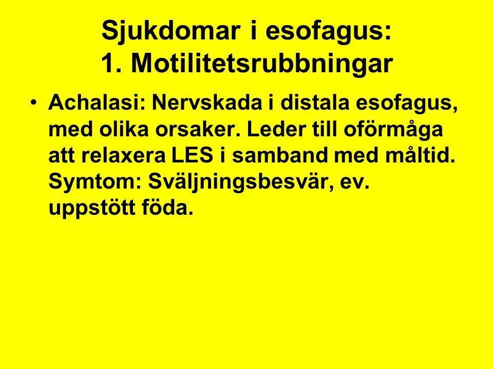Sjukdomar i esofagus: 1. Motilitetsrubbningar