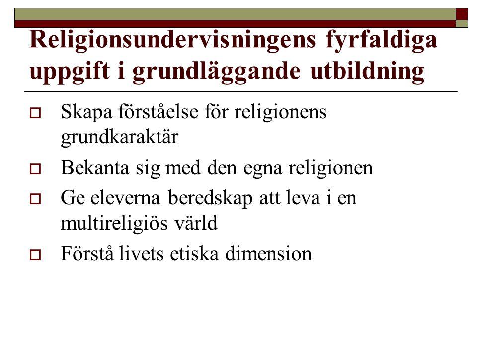 Religionsundervisningens fyrfaldiga uppgift i grundläggande utbildning