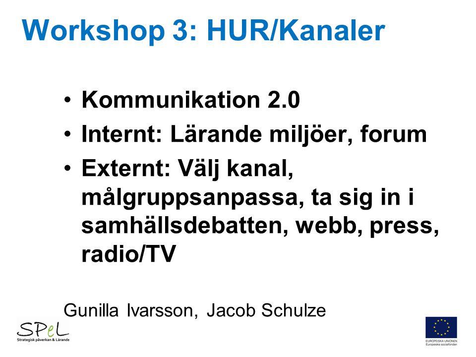 Workshop 3: HUR/Kanaler