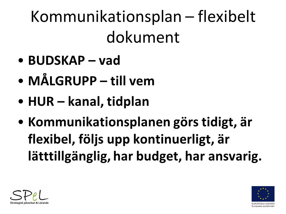 Kommunikationsplan – flexibelt dokument