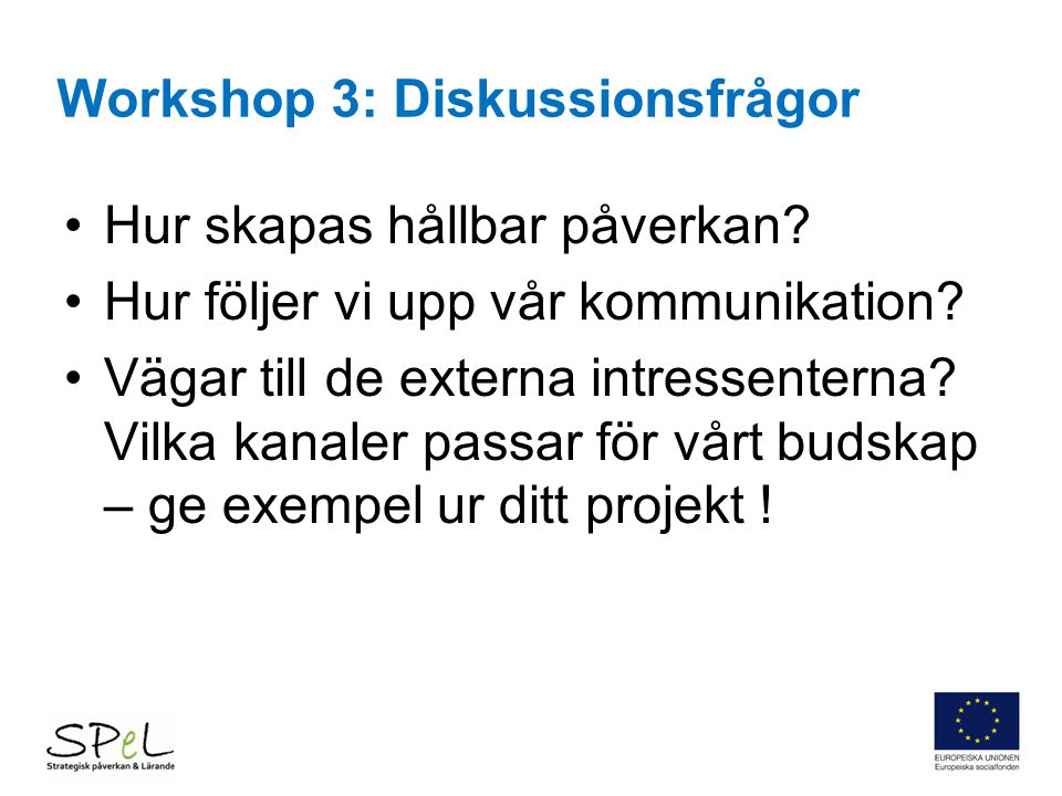 Workshop 3: Diskussionsfrågor