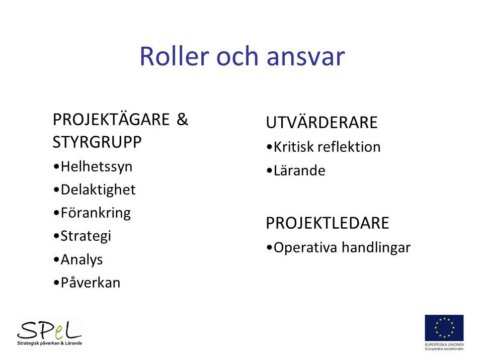 Roller och ansvar PROJEKTÄGARE & STYRGRUPP UTVÄRDERARE PROJEKTLEDARE