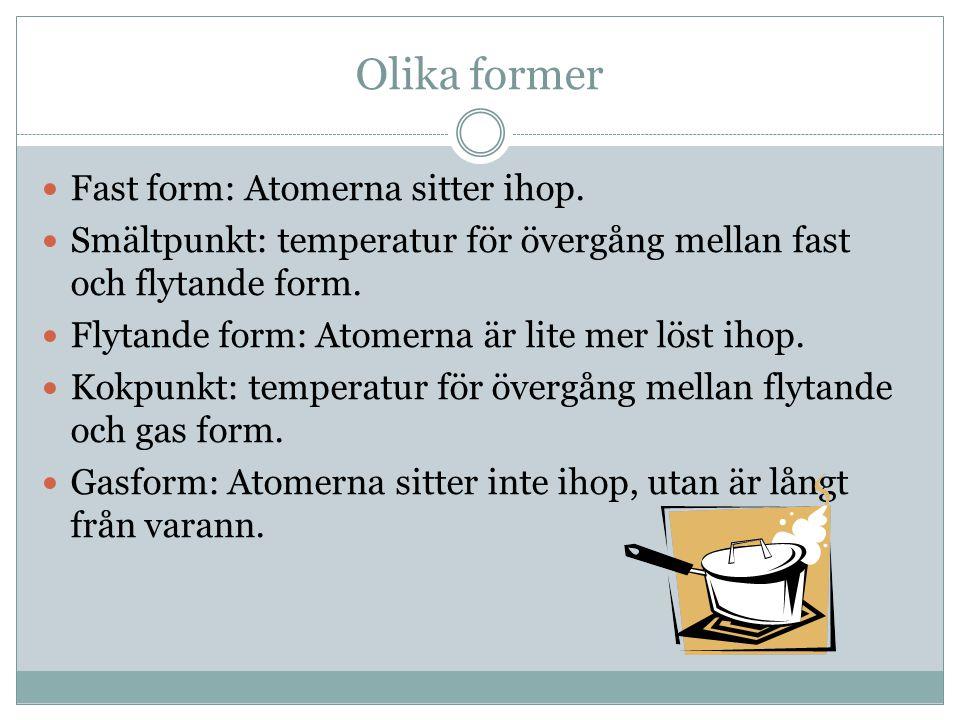 Olika former Fast form: Atomerna sitter ihop.
