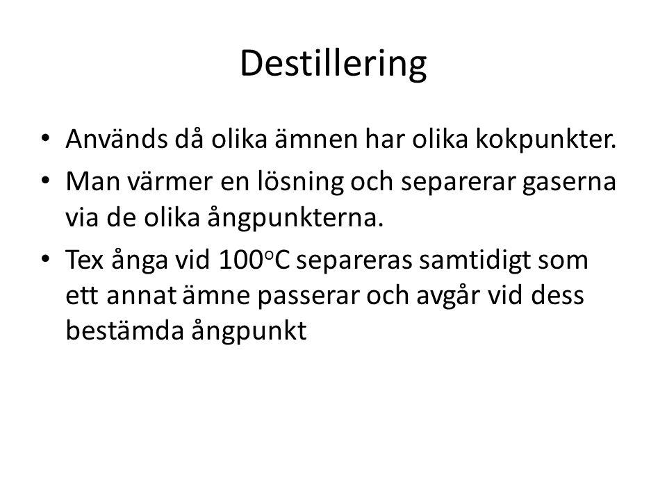 Destillering Används då olika ämnen har olika kokpunkter.