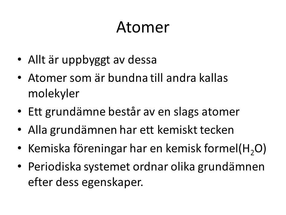 Atomer Allt är uppbyggt av dessa