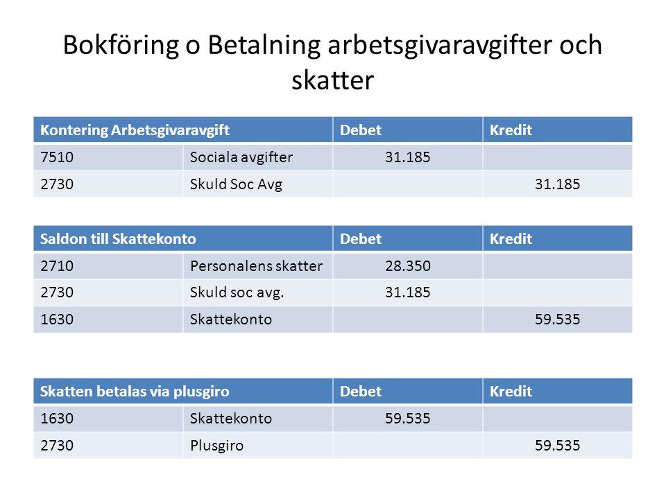Bokföring o Betalning arbetsgivaravgifter och skatter