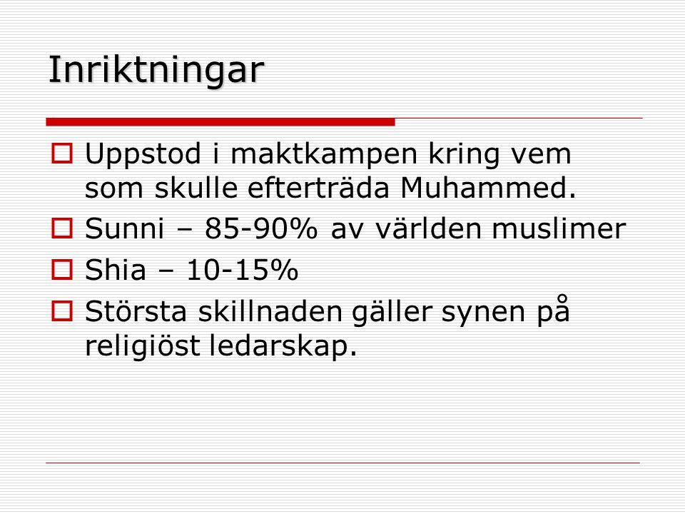 Inriktningar Uppstod i maktkampen kring vem som skulle efterträda Muhammed. Sunni – 85-90% av världen muslimer.