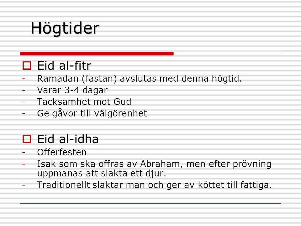 Högtider Eid al-fitr Eid al-idha
