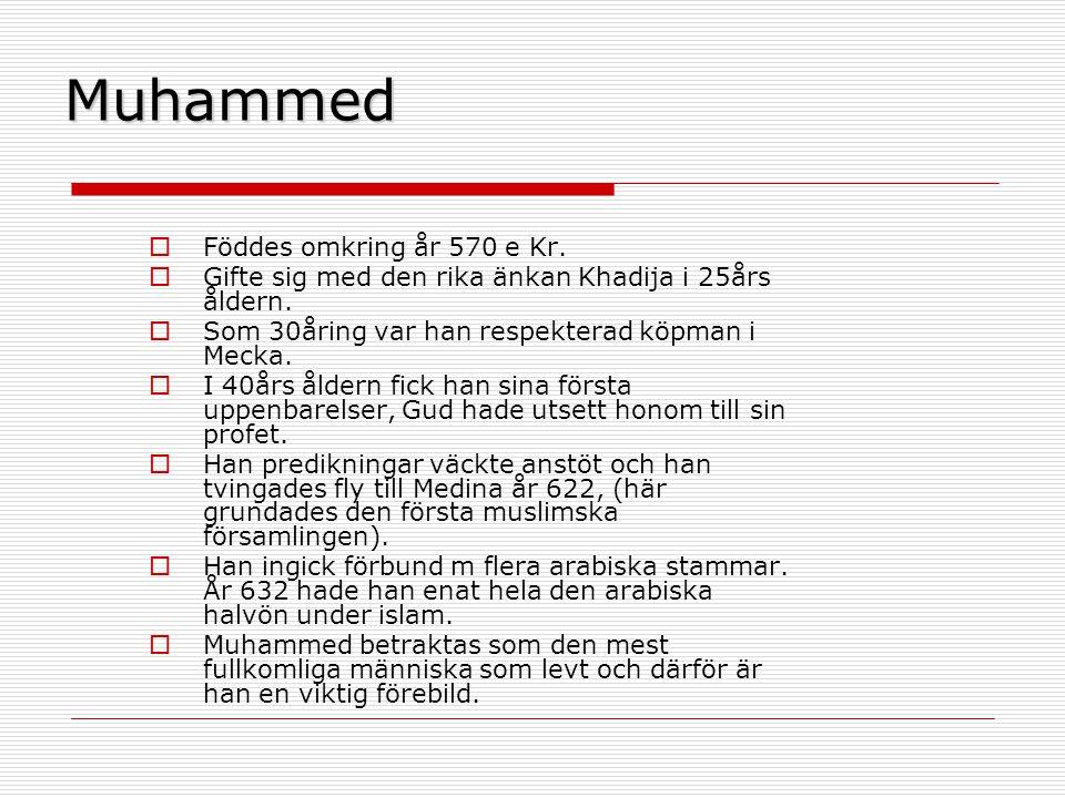 Muhammed Föddes omkring år 570 e Kr.