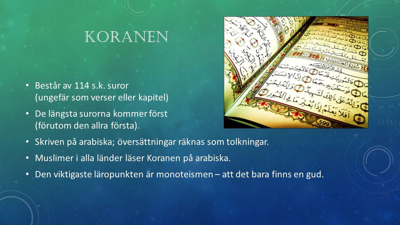 Koranen Består av 114 s.k. suror (ungefär som verser eller kapitel)