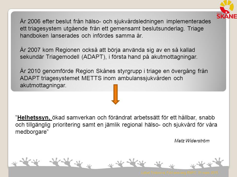 År 2006 efter beslut från hälso- och sjukvårdsledningen implementerades ett triagesystem utgående från ett gemensamt beslutsunderlag. Triage handboken lanserades och infördes samma år.