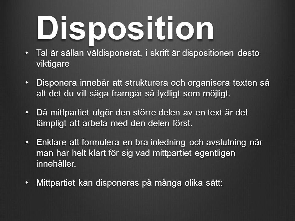 Disposition Tal är sällan väldisponerat, i skrift är dispositionen desto viktigare.