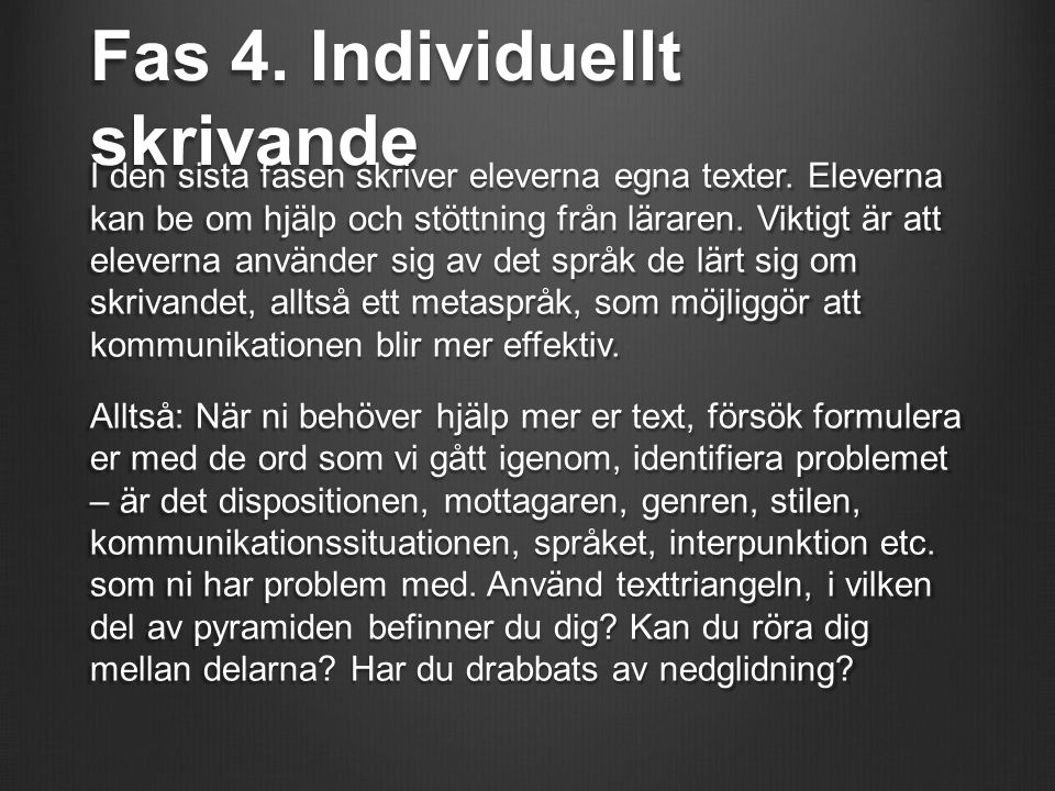 Fas 4. Individuellt skrivande
