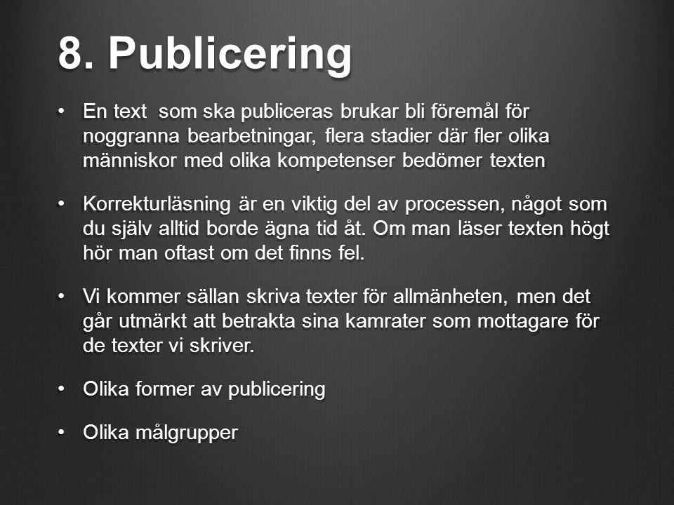 8. Publicering