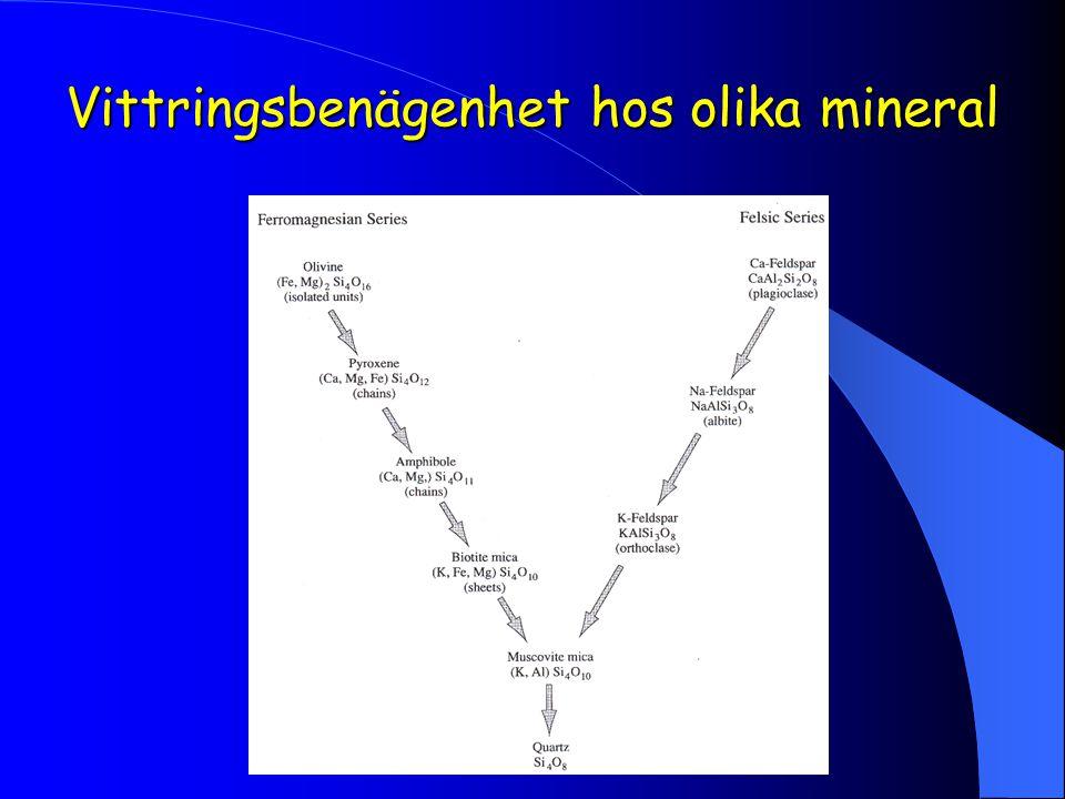 Vittringsbenägenhet hos olika mineral