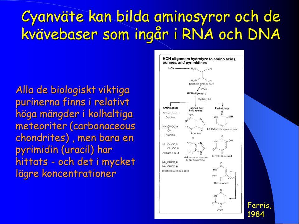 Cyanväte kan bilda aminosyror och de kvävebaser som ingår i RNA och DNA
