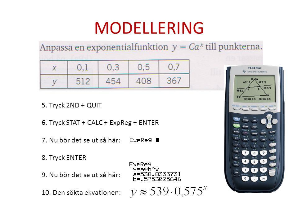 MODELLERING 5. Tryck 2ND + QUIT 6. Tryck STAT + CALC + ExpReg + ENTER