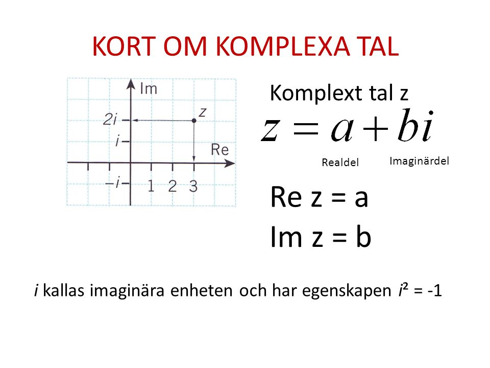 Re z = a Im z = b KORT OM KOMPLEXA TAL Komplext tal z