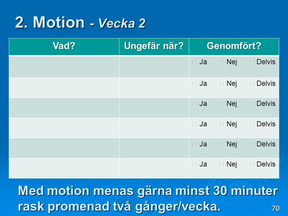 2. Motion - Vecka 2 Vad Ungefär när Genomfört  Ja  Nej  Delvis.