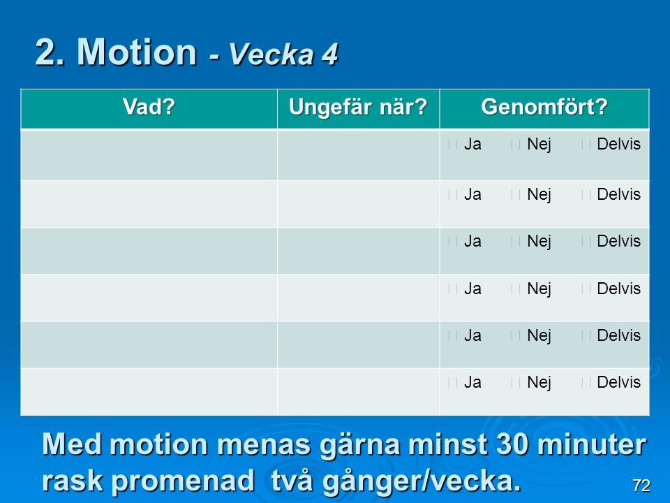 2. Motion - Vecka 4 Vad Ungefär när Genomfört  Ja  Nej  Delvis.