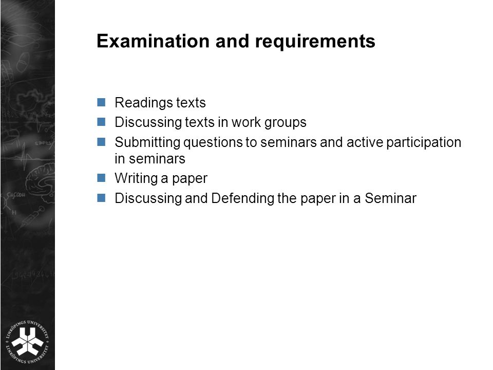 Examination and requirements