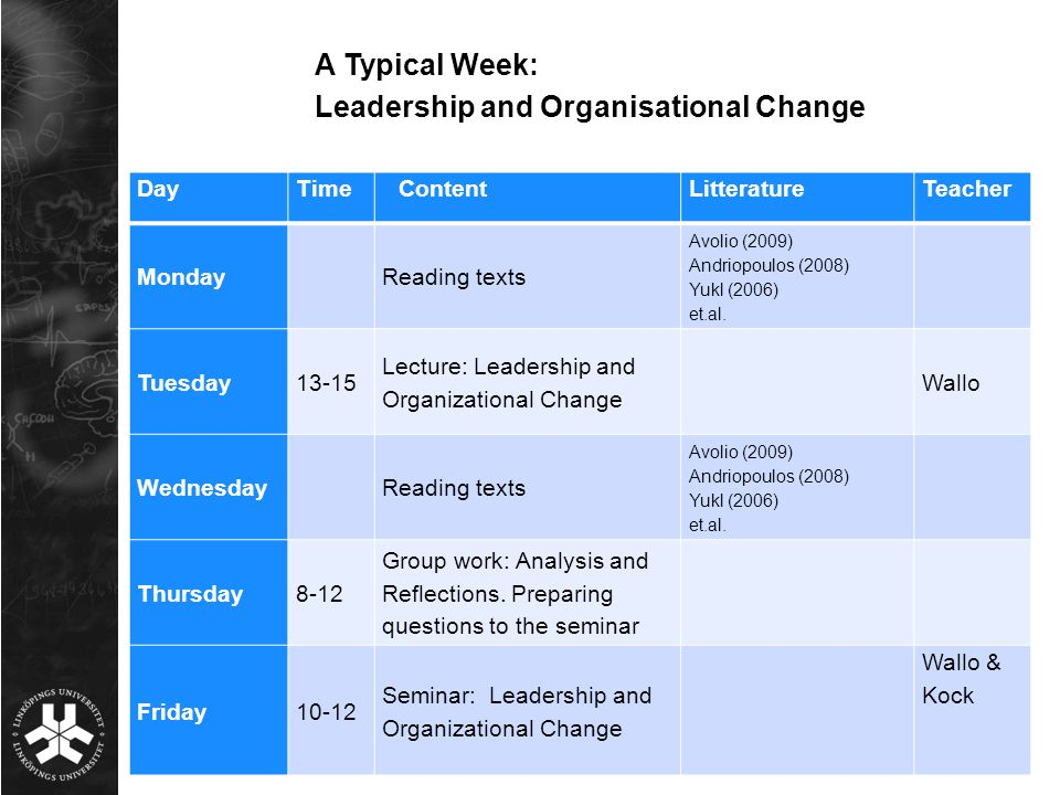 Leadership and Organisational Change