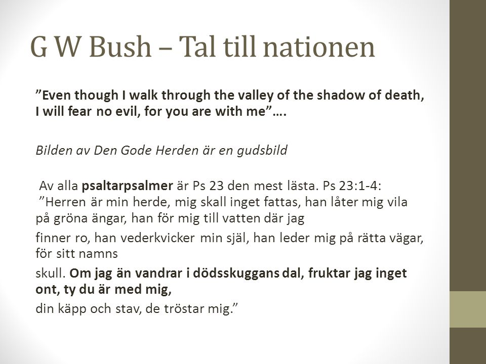 G W Bush – Tal till nationen