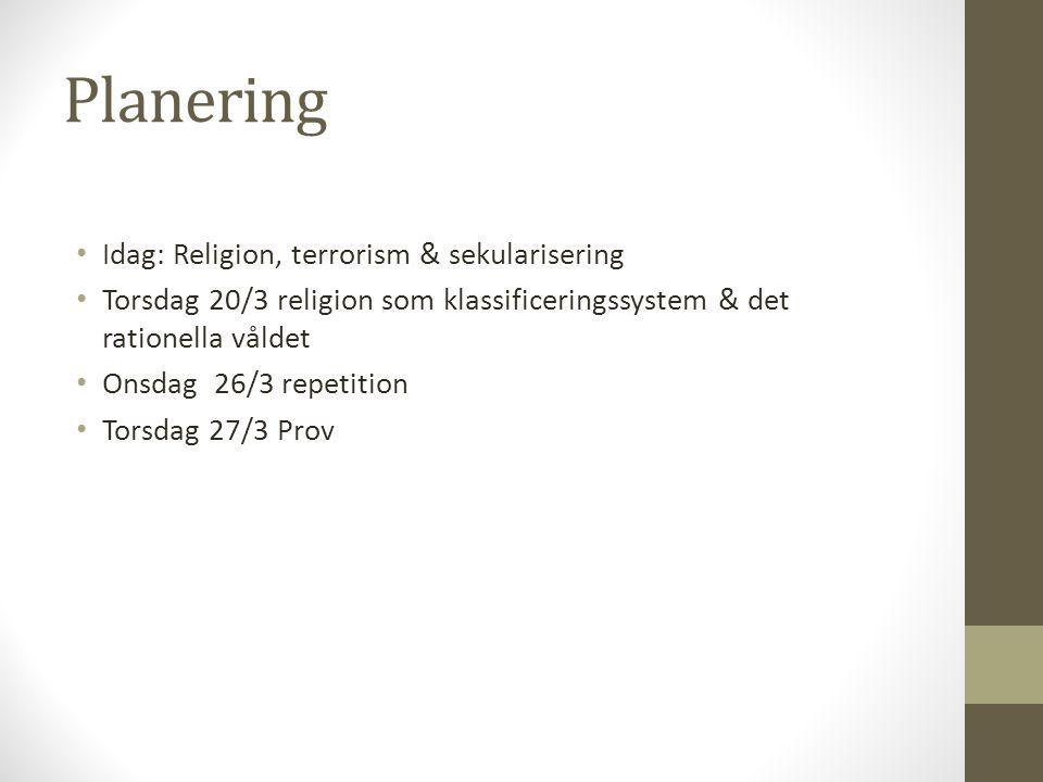 Planering Idag: Religion, terrorism & sekularisering