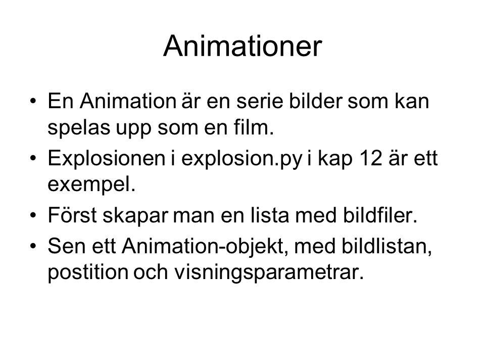 Animationer En Animation är en serie bilder som kan spelas upp som en film. Explosionen i explosion.py i kap 12 är ett exempel.