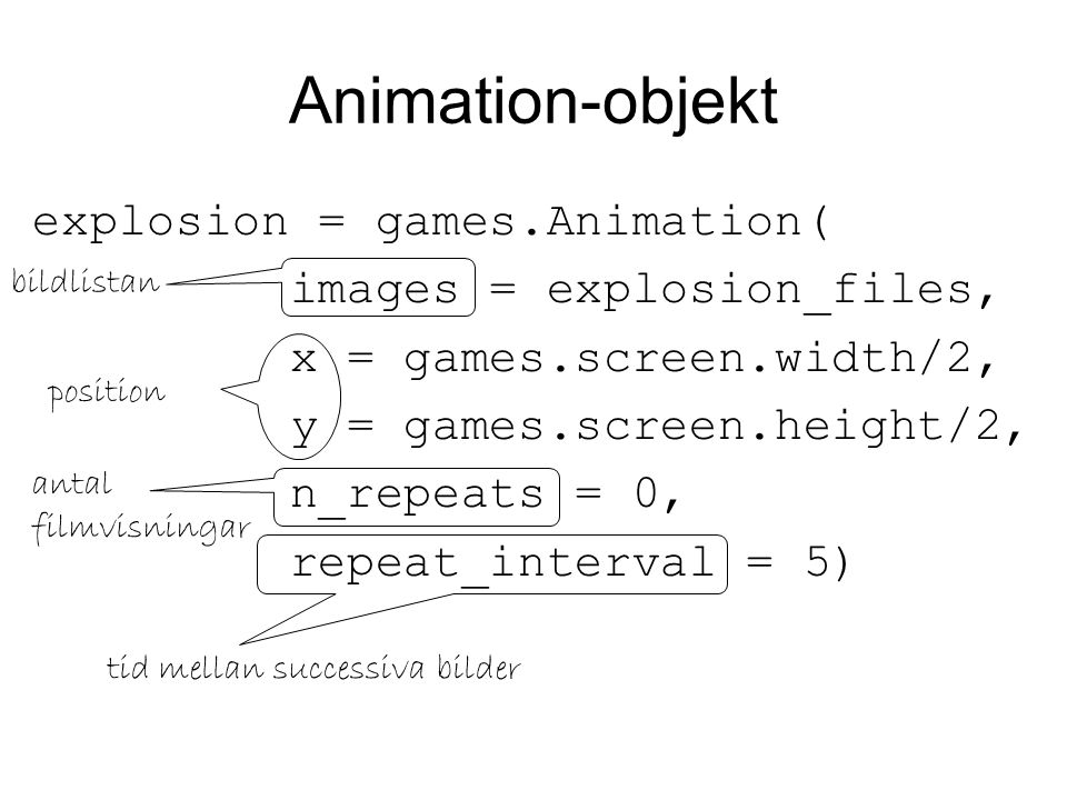 Animation-objekt explosion = games.Animation(