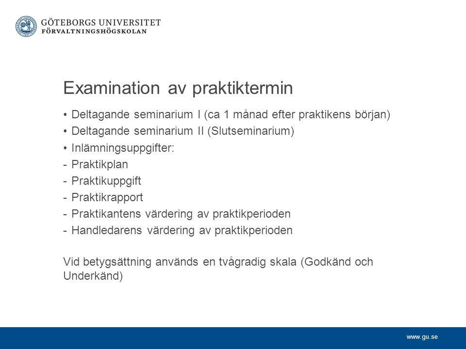 Examination av praktiktermin