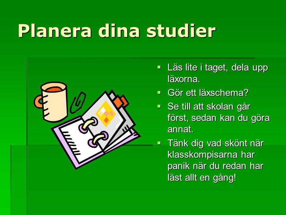 Planera dina studier Läs lite i taget, dela upp läxorna.