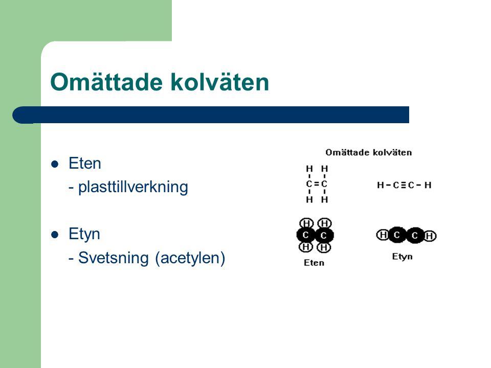 Omättade kolväten Eten - plasttillverkning Etyn - Svetsning (acetylen)