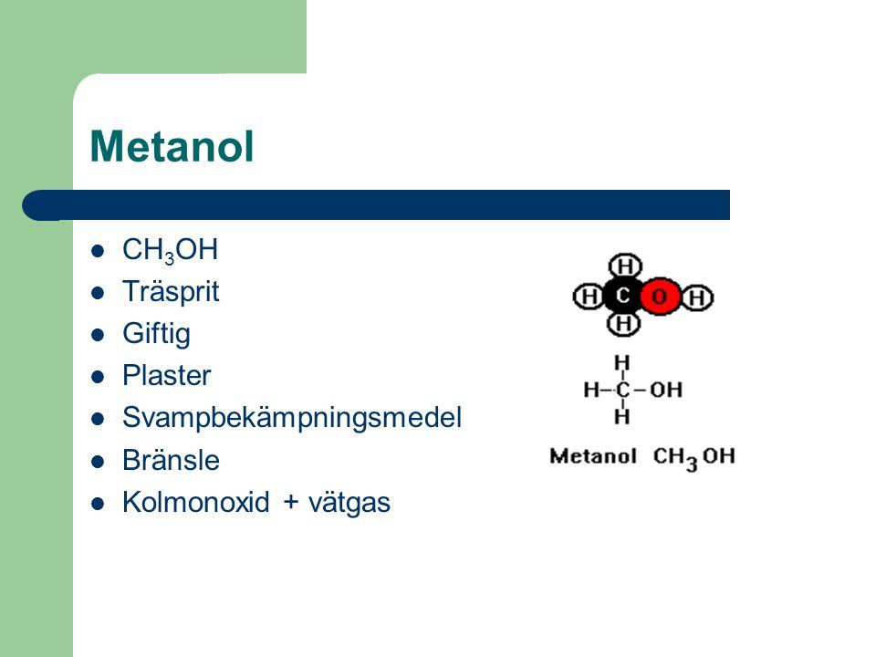 Metanol CH3OH Träsprit Giftig Plaster Svampbekämpningsmedel Bränsle