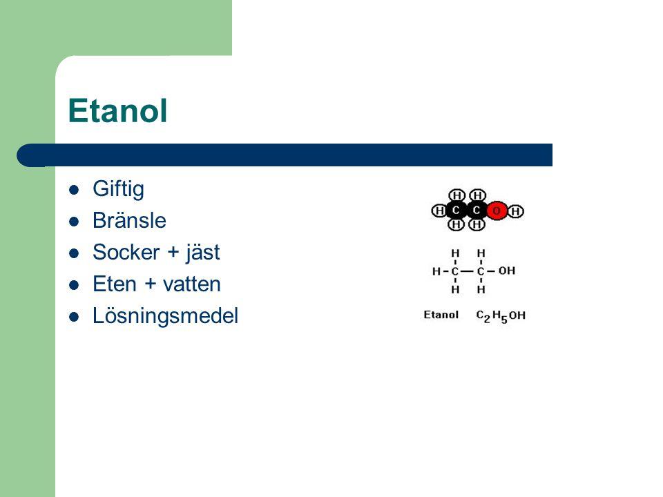 Etanol Giftig Bränsle Socker + jäst Eten + vatten Lösningsmedel