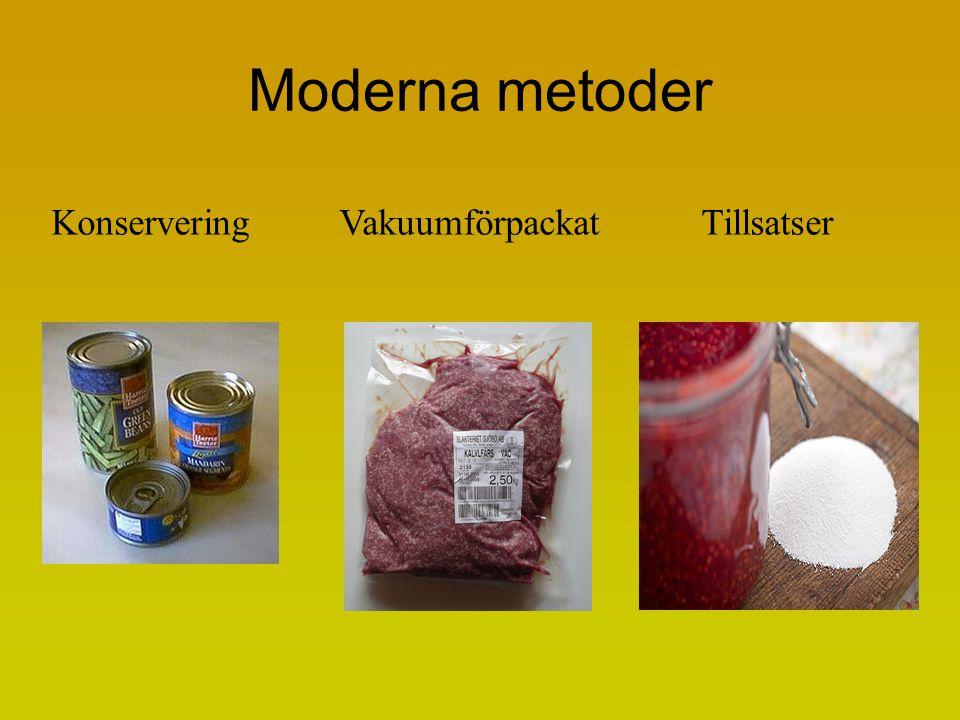 Moderna metoder Konservering Vakuumförpackat Tillsatser
