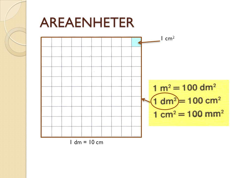 AREAENHETER 1 cm2 1 dm = 10 cm