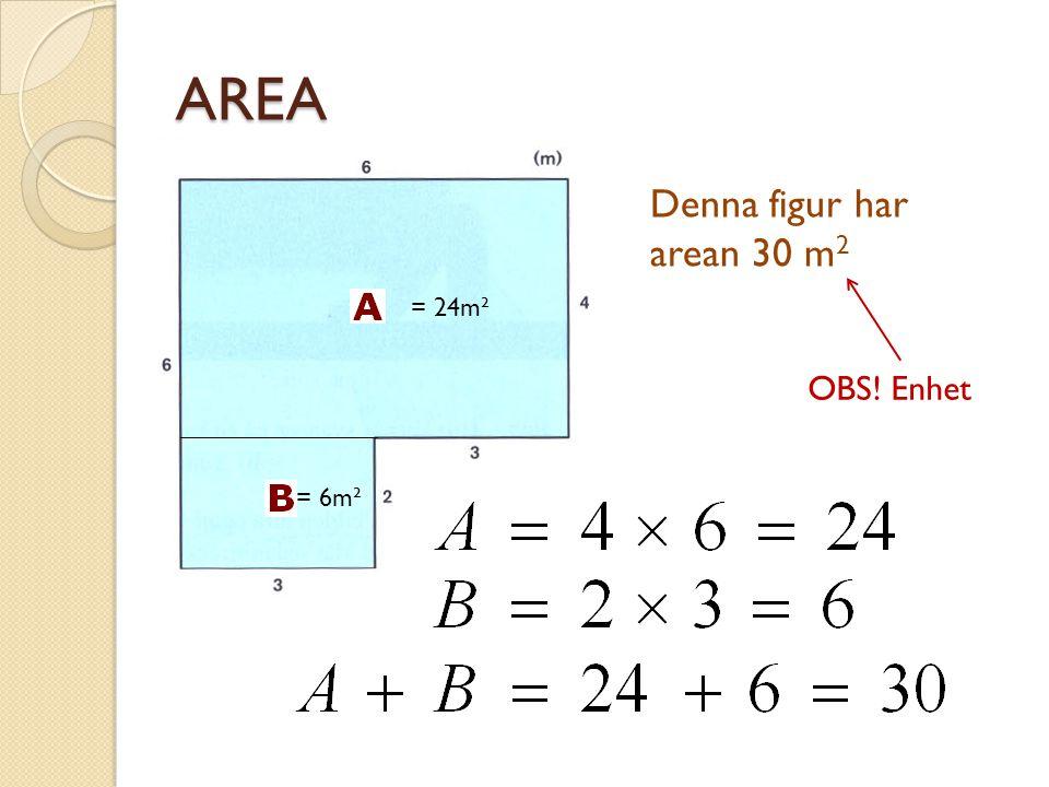 AREA Denna figur har arean 30 m2 = 24m² OBS! Enhet = 6m²