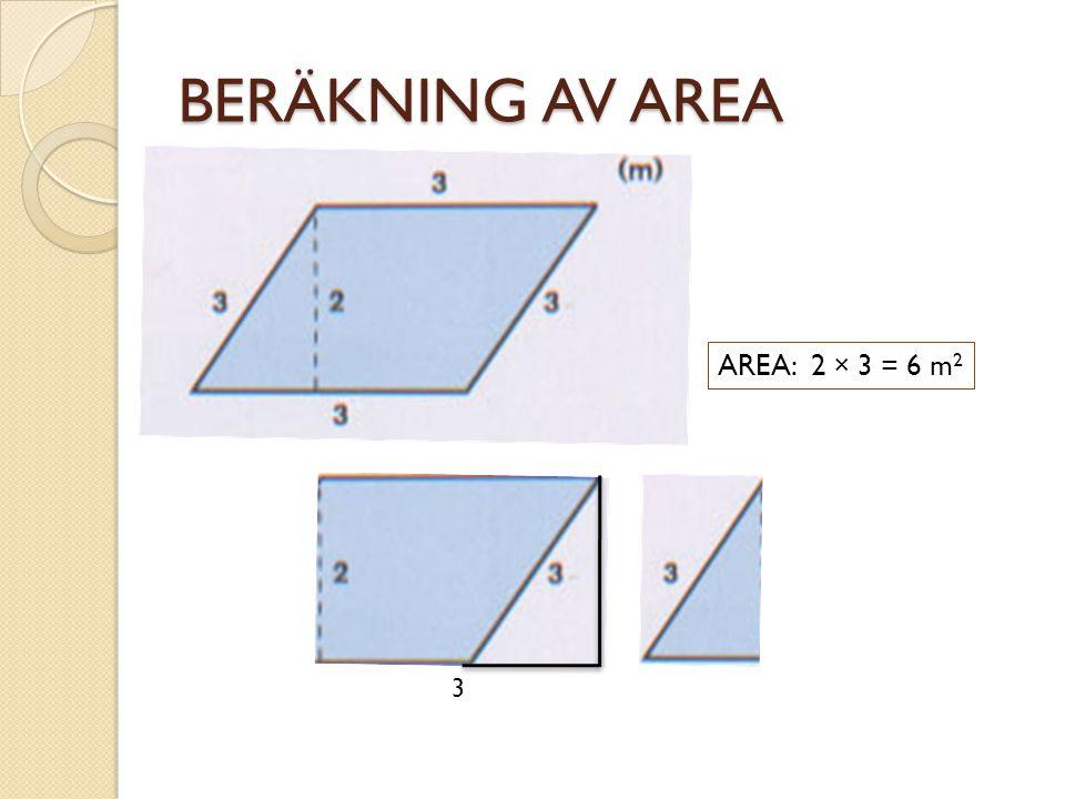 BERÄKNING AV AREA AREA: 2 × 3 = 6 m2 3
