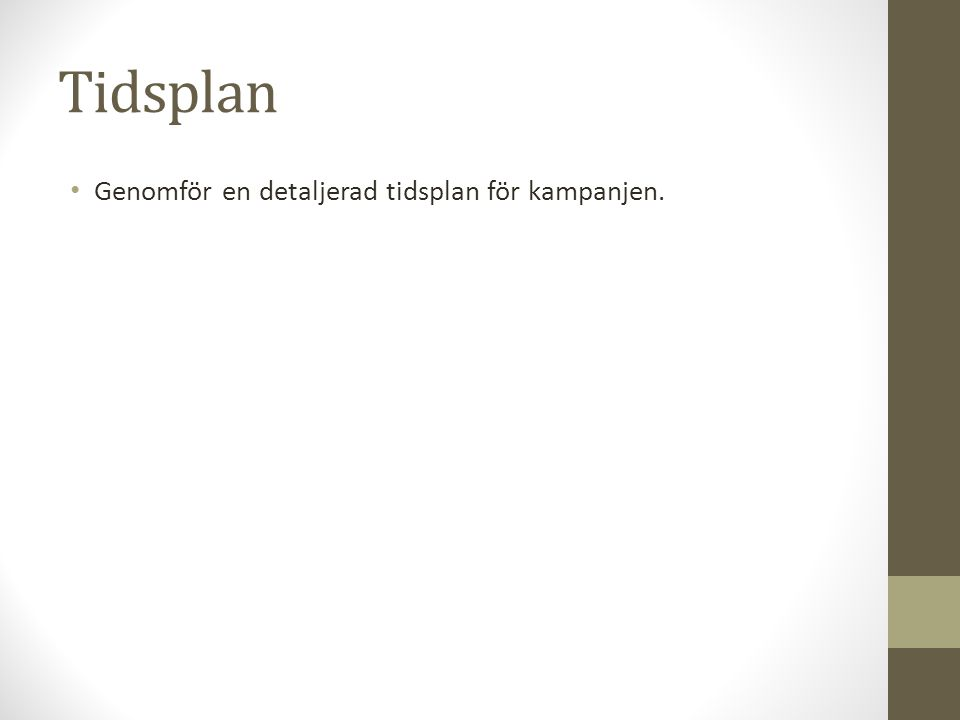 Tidsplan Genomför en detaljerad tidsplan för kampanjen.