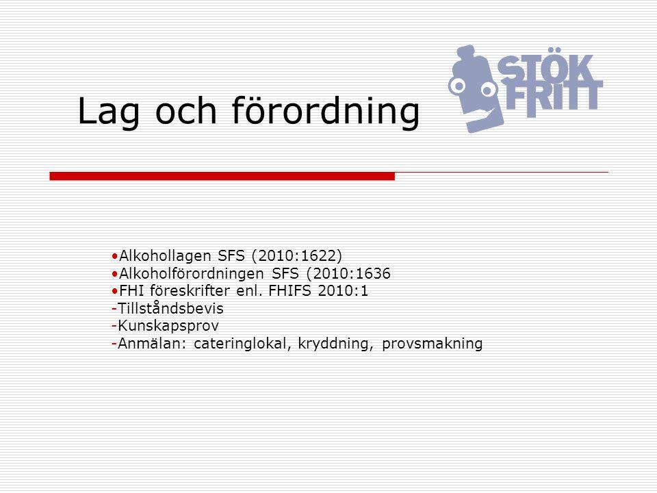 Lag och förordning Alkohollagen SFS (2010:1622)
