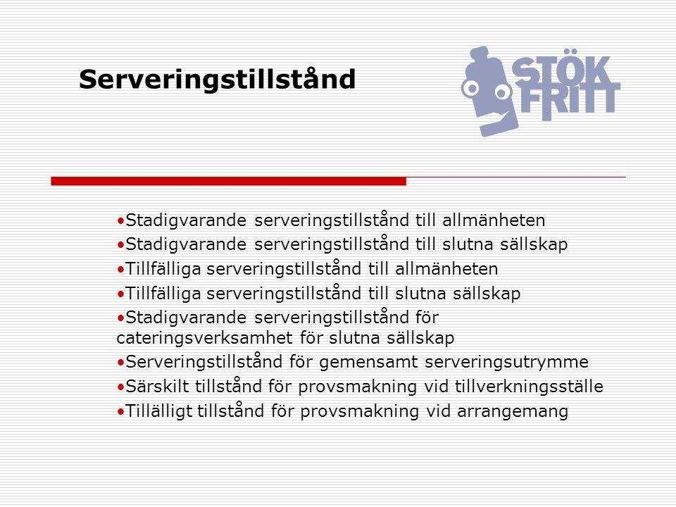Serveringstillstånd Stadigvarande serveringstillstånd till allmänheten