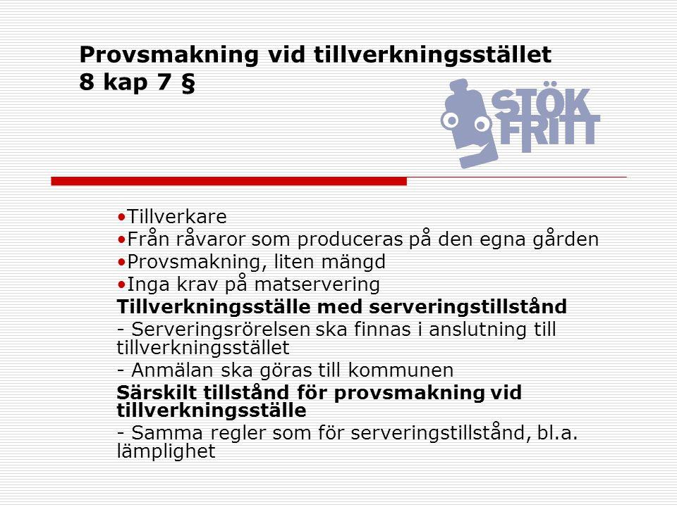 Provsmakning vid tillverkningsstället 8 kap 7 §