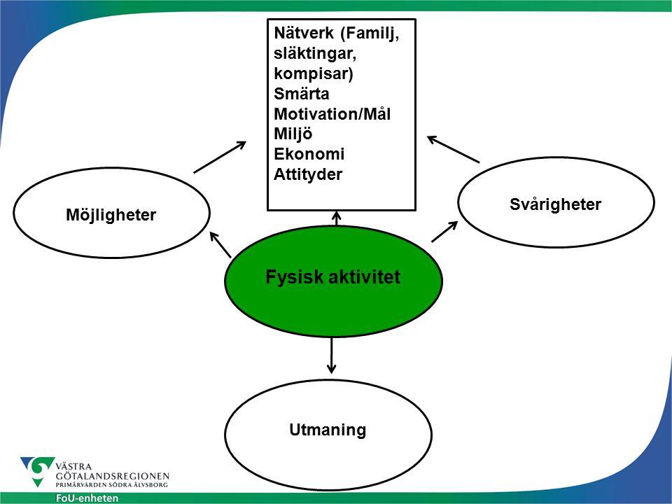 Fysisk aktivitet Nätverk (Familj, släktingar, kompisar)