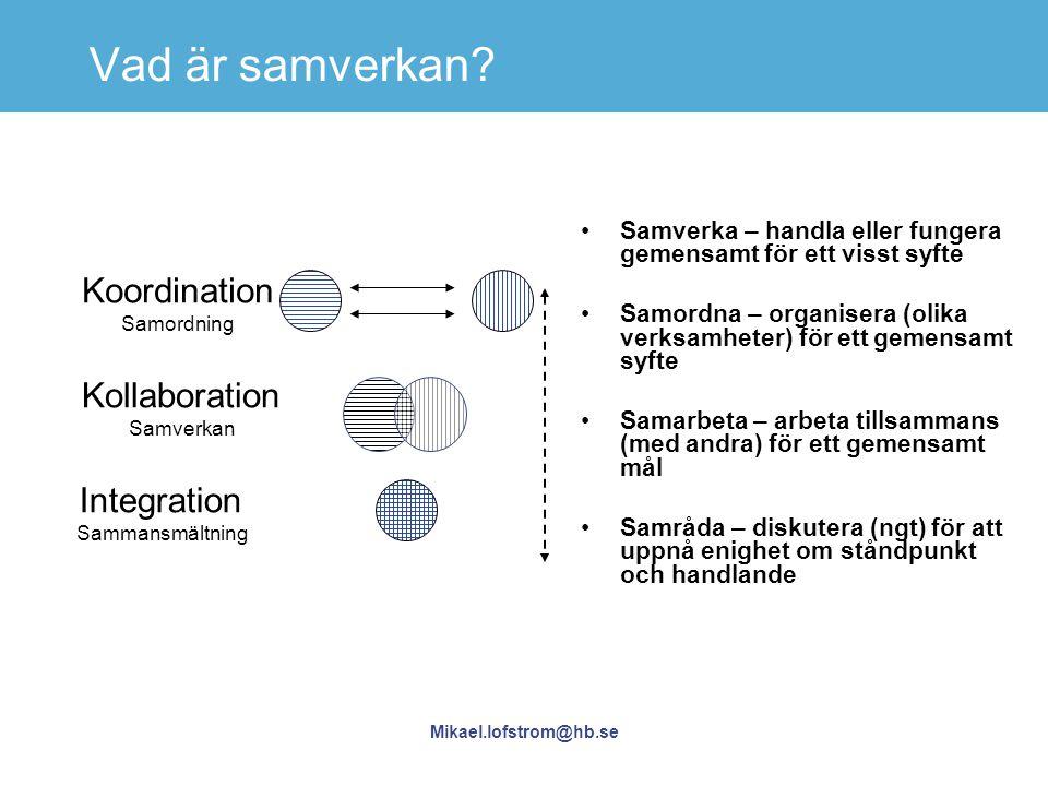 Vad är samverkan Koordination Kollaboration Integration