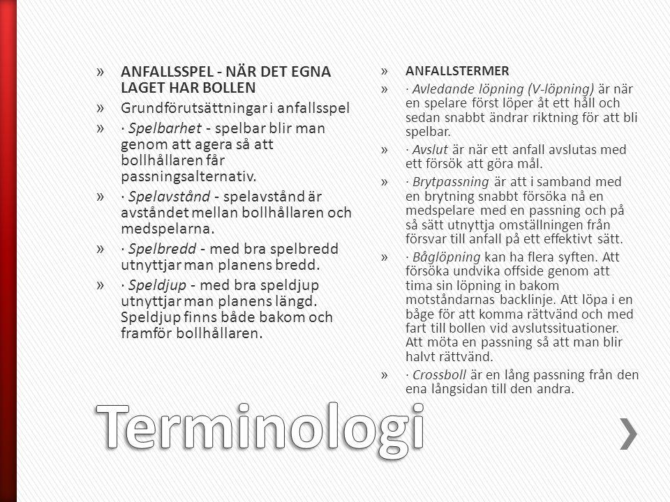 Terminologi ANFALLSSPEL - NÄR DET EGNA LAGET HAR BOLLEN