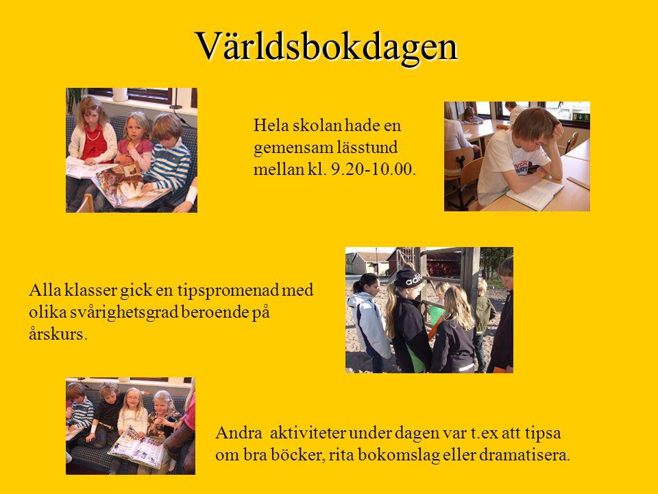 Världsbokdagen Hela skolan hade en gemensam lässtund