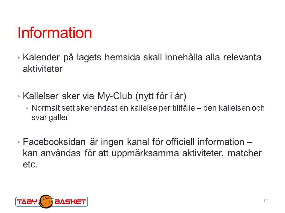 Information Kalender på lagets hemsida skall innehålla alla relevanta aktiviteter. Kallelser sker via My-Club (nytt för i år)