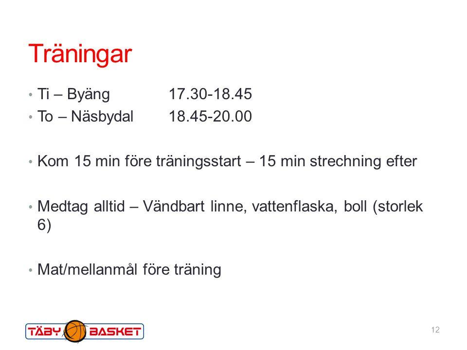Träningar Ti – Byäng 17.30-18.45 To – Näsbydal 18.45-20.00